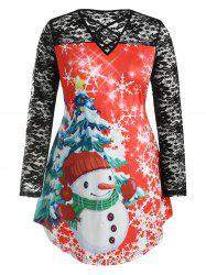 Plus Size Christmas Graphic Longline Tee with Lace -