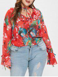 Flare Sleeve Floral Print Plus Size Blouse -