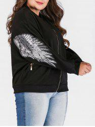 Plus Size Zipper Fly Jacket with Sequines -