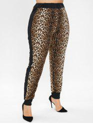 Plus Size High Waisted Leopard Jogger Pants -
