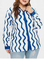 Wave Print Plus Size Shirt -