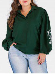 Plus Size High Low Blouse with Floral Embroidered -