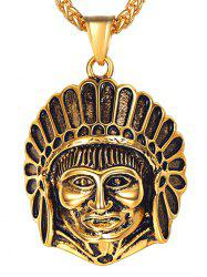 Stainless Steel Indian Head Engraved Necklace -