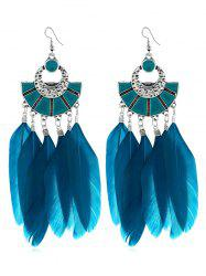 Bohemian Fan Shape Feather Tassel Earrings -