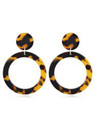 Acrylic Hollow Out Round Leopard Pattern Earrings -