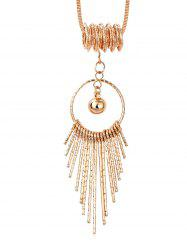 Hollow Round Shape Tassel Long Alloy Necklace -