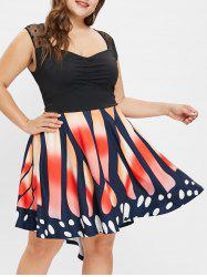 Mesh Panel Butterfly Print Plus Size Vintage Dress -