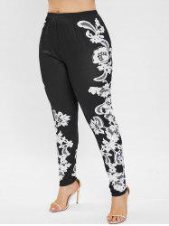 Plus Size Floral Print High Waisted Leggings -
