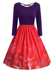 Plus Size Snowflake Print Christmas Dress with Criss Cross -
