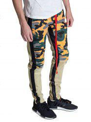 Color Block Hem Zipper Camo Patchwork Track Pants -