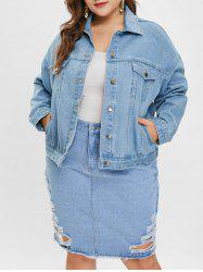 Plus Size Drop Shoulder Denim Jacket -