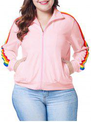 Plus Size Zip Fly Rainbow Stripe Jacket -