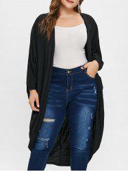 Plus Size Open Front Collarless Longline Coat -