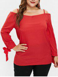Plus Size Cold Shoulder Tunic Top with Ties -