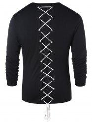 Long Sleeve Lace Up Casual T-shirt -