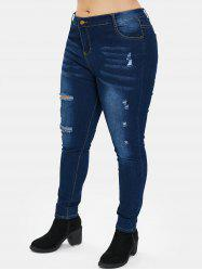 Plus Size Zipper Fly Jeans with Hole -