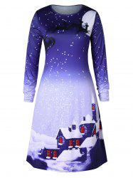 Christmas Plus Size Snowflake House Print Swing Dress -