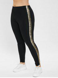 Plus Size High Waisted Leggings with Sequined -