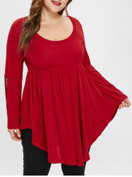 Plus Size Asymmetric Flare Sleeves Tee with Lace -