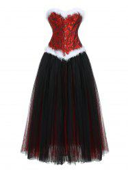 Faux Fur Jacquard Corset and Mesh Skirt -