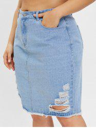 Plus Size Denim Skirt with Ripped -