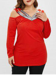 Plus Size V Neck Cold Shoulder Tee with Sequins -