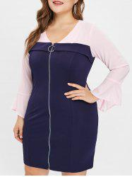 Plus Size Contrast Bodycon Dress with Zipper Fly -