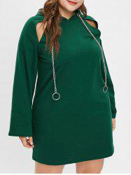 Plus Size Cut Out Hooded Mini Dress -