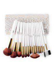 15 Pcs Soft Fiber Hair Eyeshadow Blush Powder Eyebrow Brush Set with Brush Case -