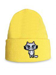 Cartoon Cat Embroidery Flanging Beanie -