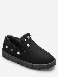 Faux Pearl Winter Loafer Flats -