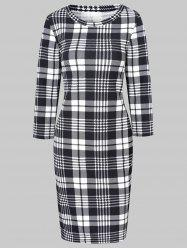 Plaid Midi Bodycon Dress -