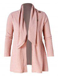 Button Detail Plus Size Ribbed Cardigan -