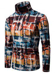 Abstract Colorful Painting Turtleneck Thin Sweater -