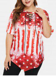 Plus Size American Flag Tee with Lace Up -