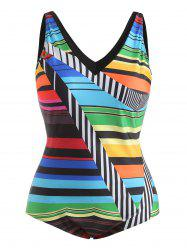 Color Block Plus Size V Neck Swimwear -