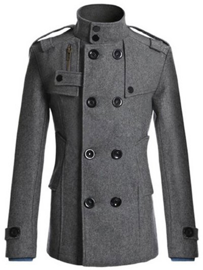 Outfit Stand Collar Zipper Design Double Breasted Woolen Blends Coat