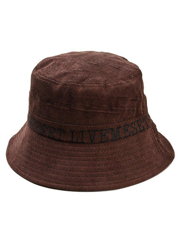 809a4b298b0 2018 Capital Letter Embroidery Flat Bucket Hat In Coffee