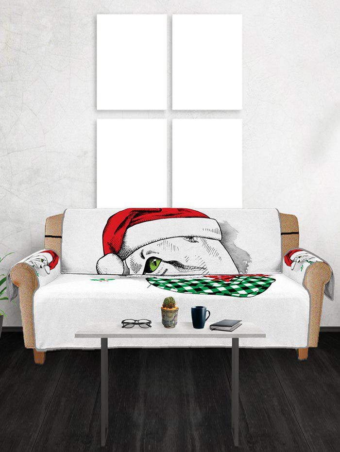 Chic Christmas Cat Pattern Sofa Cover