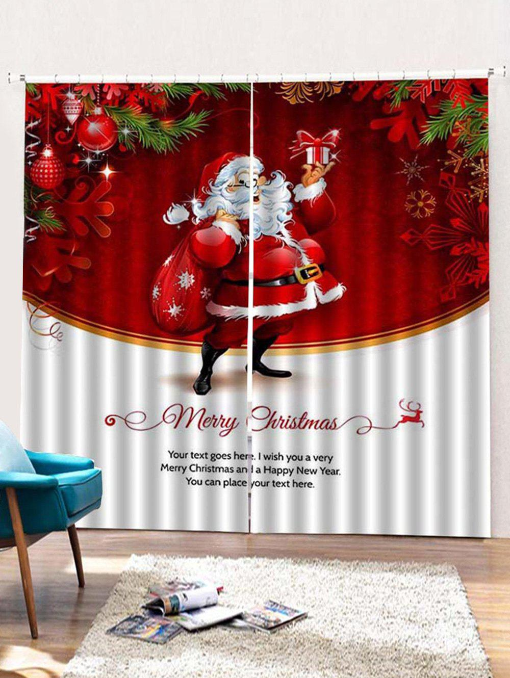 Fancy 2PCS Father Christmas Gift Pattern Window Curtains