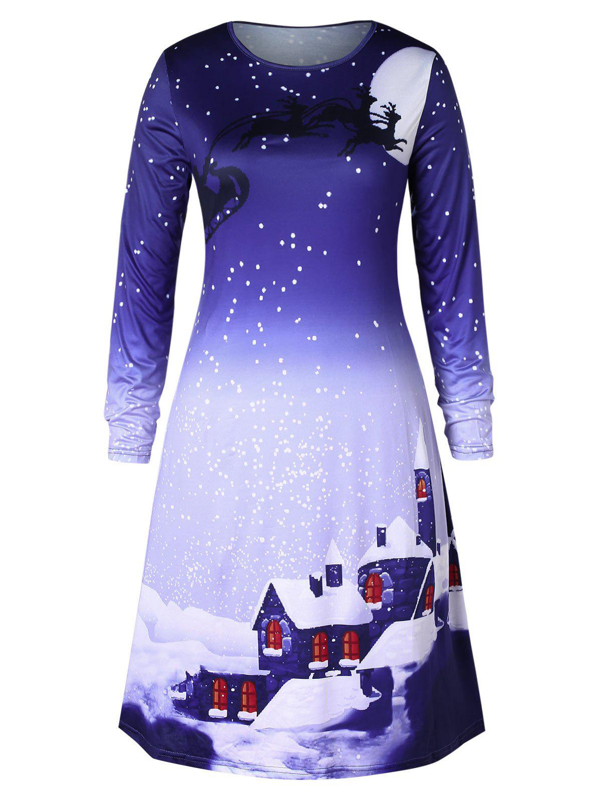 Shops Christmas Plus Size Snowflake House Print Swing Dress