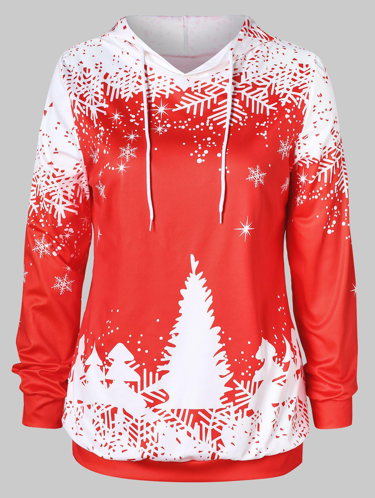 Online Plus Size Christmas Tree Print Graphic Hoodie