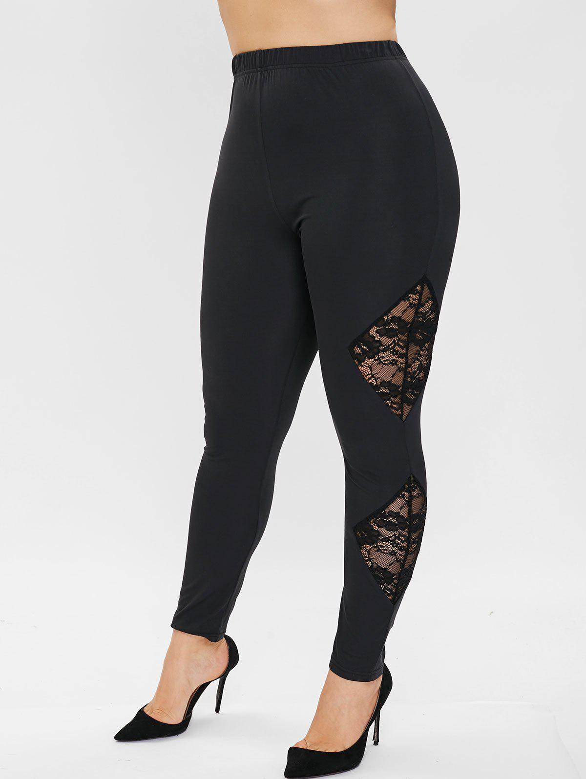 Trendy Plus Size Floral Embroidered Leggings with Lace
