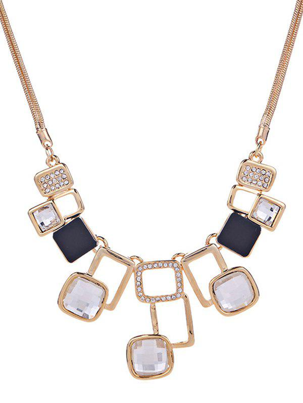 Sale Rhinestone Hollow Geometric Statement Necklace