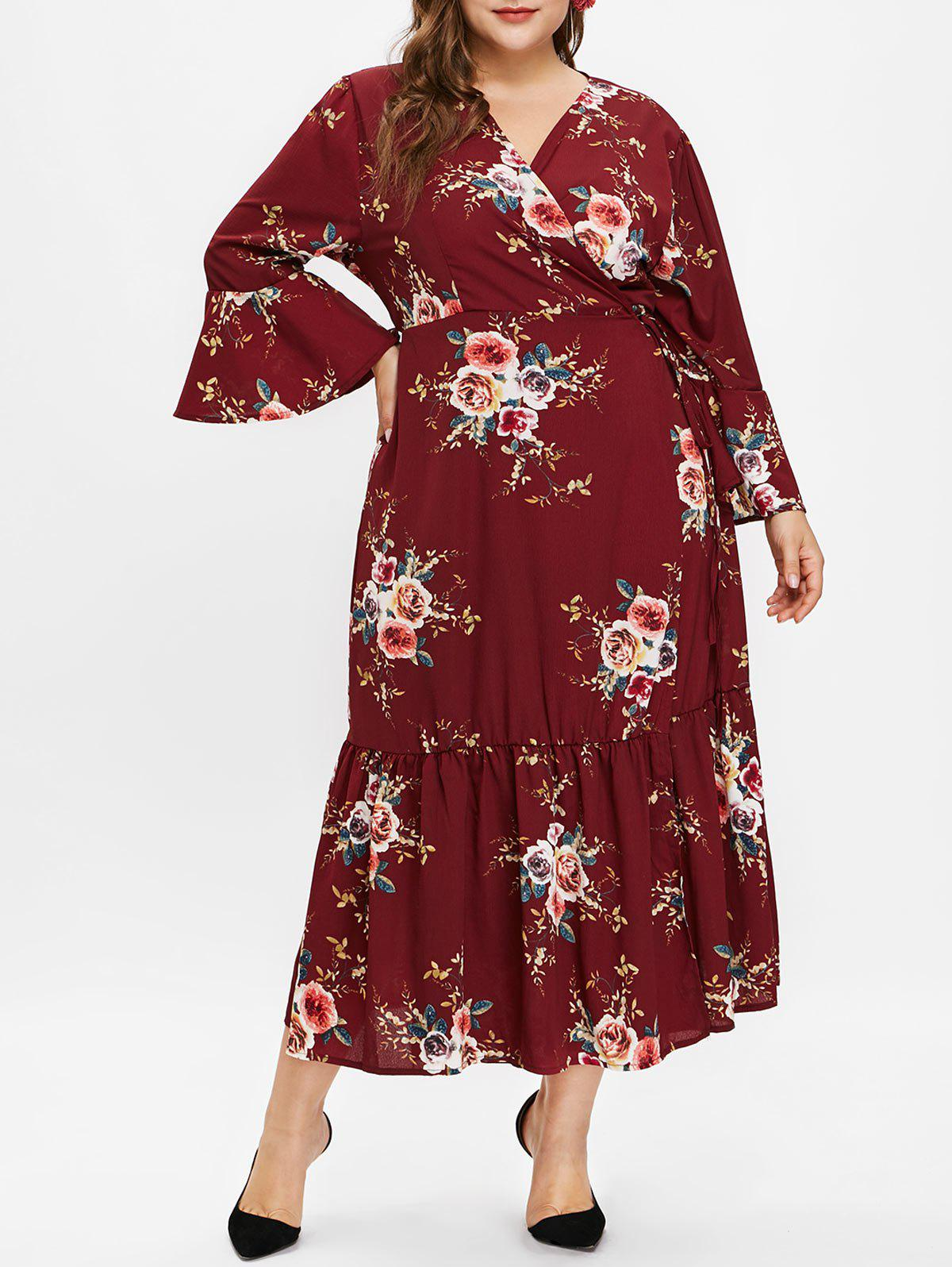 Chic Plus Size Long Sleeves Floral Wrap Dress