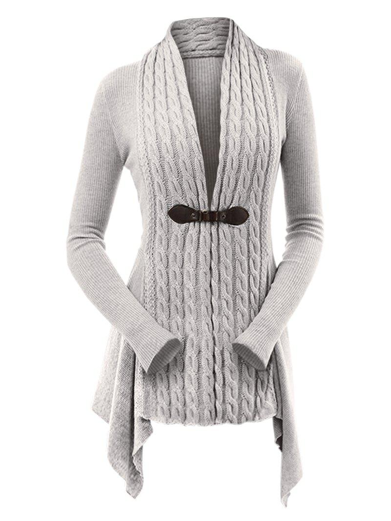 Discount Cable Knit Asymmetrical Long Cardigan
