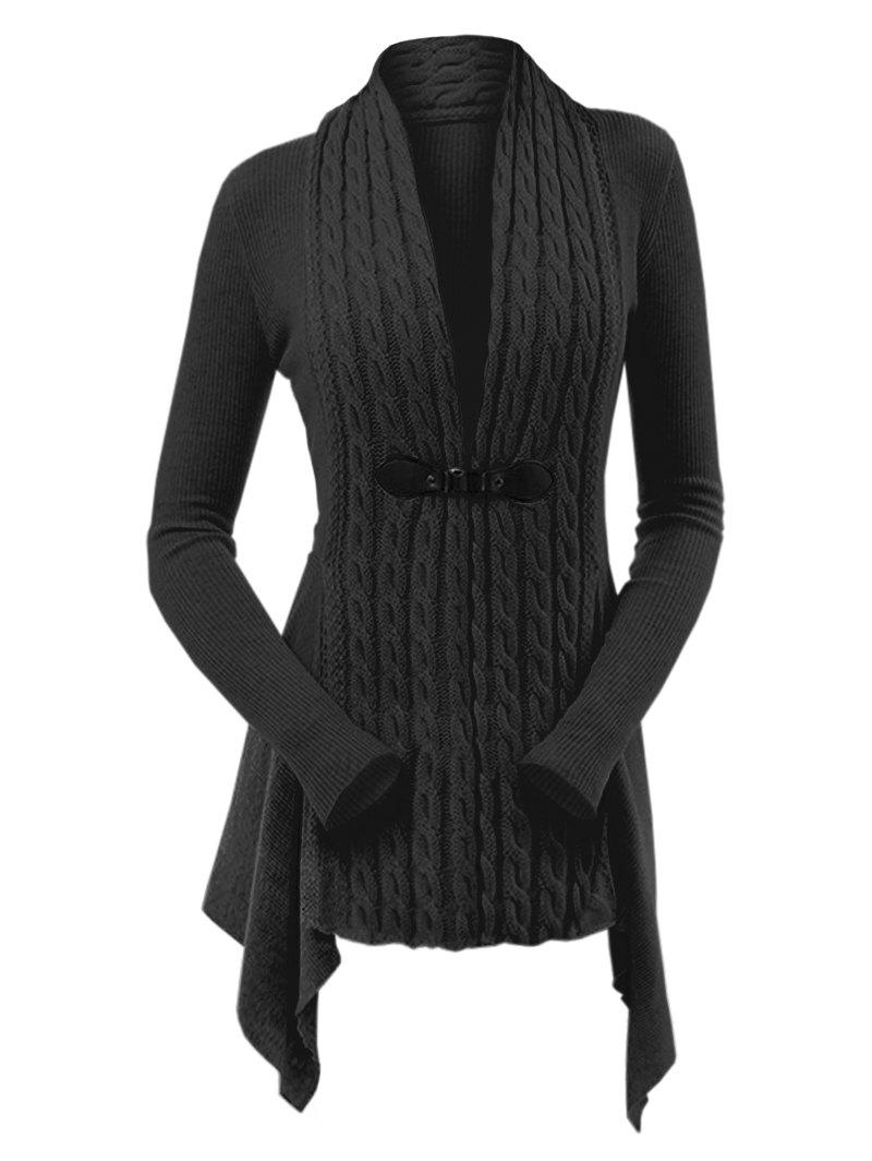 Online Cable Knit Asymmetrical Long Cardigan