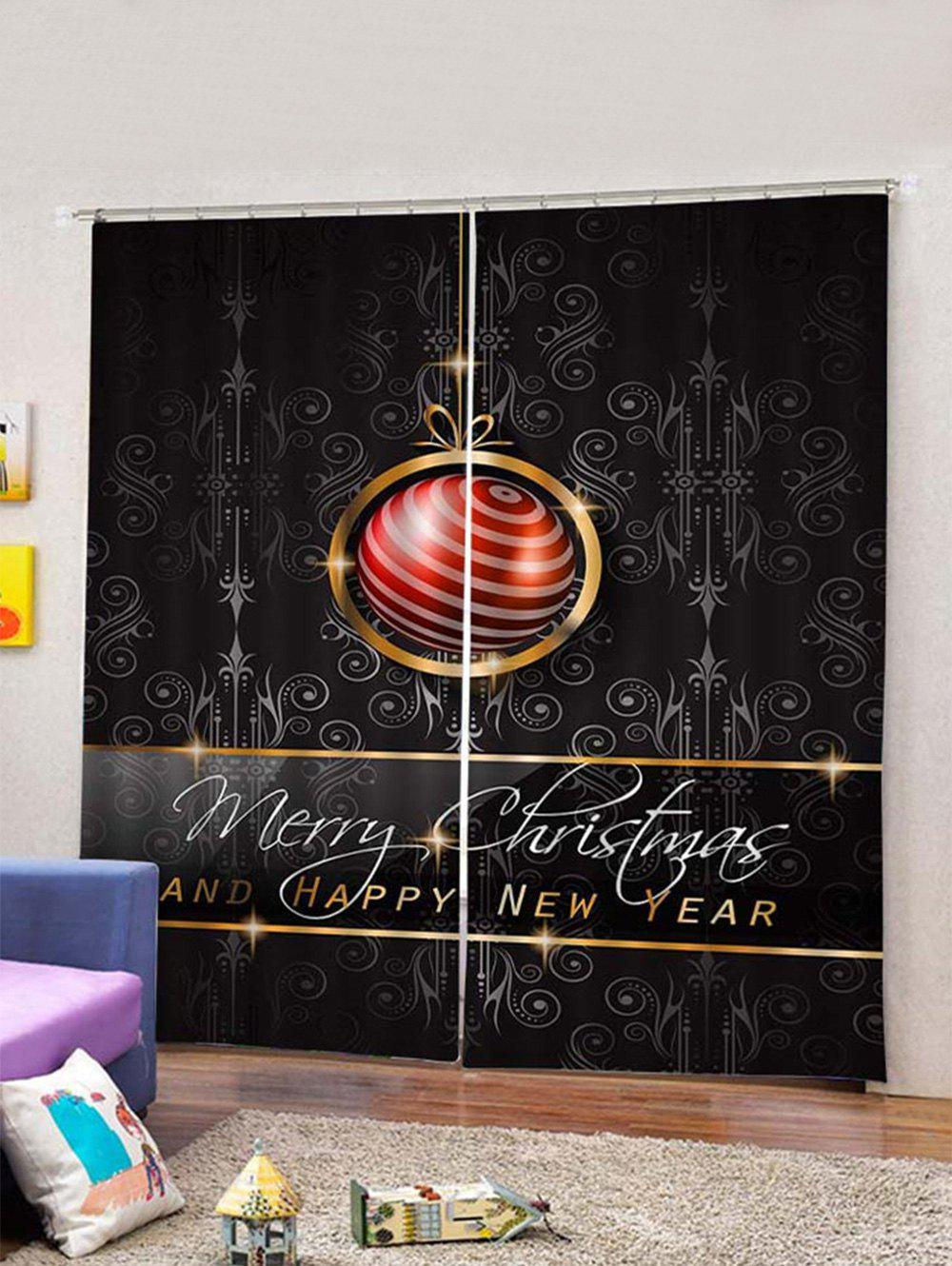 Latest 2PCS Merry Christmas Letter Print Waterproof Window Curtains