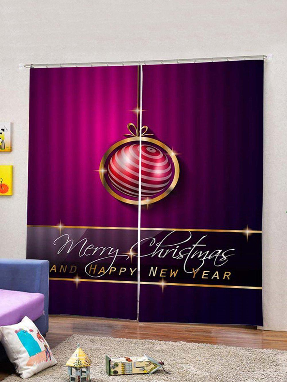 Fashion 2PCS Merry Christmas Ball Printed Waterproof Window Curtains