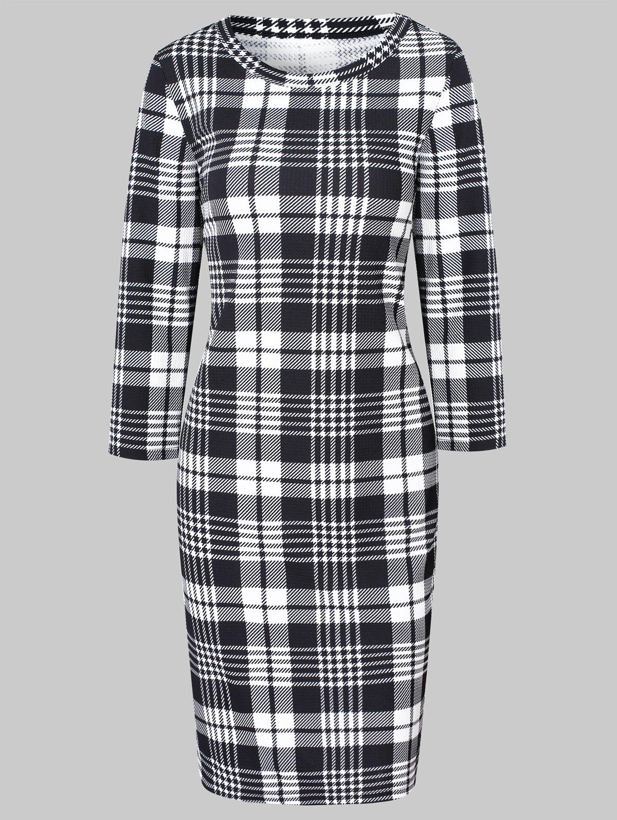 Store Plaid Midi Bodycon Dress